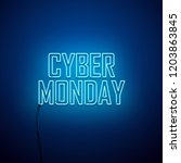cyber monday background. neon... | Shutterstock .eps vector #1203863845