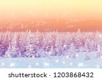 christmas background with snowy ...   Shutterstock . vector #1203868432