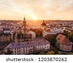 aerial view of sunset above... | Shutterstock . vector #1203870262