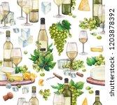 watercolor white wine glasses...   Shutterstock . vector #1203878392
