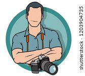 young photographer ... | Shutterstock .eps vector #1203904735