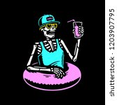 skeleton chilling with cocktail ... | Shutterstock .eps vector #1203907795