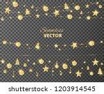 christmas golden decoration... | Shutterstock .eps vector #1203914545