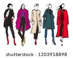 sketch. fashion girls on a... | Shutterstock .eps vector #1203918898