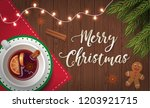 merry christmas greeting card... | Shutterstock .eps vector #1203921715