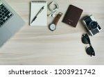 travel concept. top view of... | Shutterstock . vector #1203921742