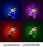 vector cartoon set of halloween ... | Shutterstock .eps vector #1203940498