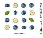 seamless pattern with blueberry.... | Shutterstock . vector #1203945268