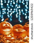 pumpkin with smiling face... | Shutterstock . vector #1203965422