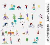 crowd of people performing... | Shutterstock .eps vector #1204012282