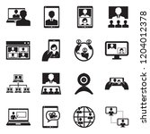 video conference icons. black... | Shutterstock .eps vector #1204012378
