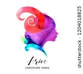 aries zodiac sign. beautiful... | Shutterstock .eps vector #1204018825