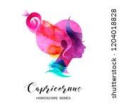 carpicornus zodiac sign.... | Shutterstock .eps vector #1204018828
