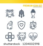 simple set of  9 outline icons... | Shutterstock .eps vector #1204032598
