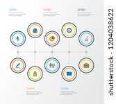 job icons colored line set with ... | Shutterstock .eps vector #1204038622