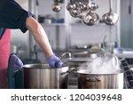 chef at work in a restaurant... | Shutterstock . vector #1204039648