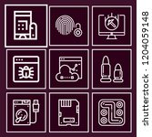 set of 9 security outline icons ... | Shutterstock .eps vector #1204059148