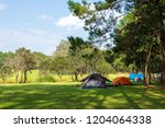 camping and tent under the pine ...   Shutterstock . vector #1204064338