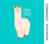 cute llama or alpaca flat... | Shutterstock .eps vector #1204068652