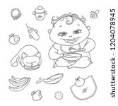 vector set happy child and... | Shutterstock .eps vector #1204078945