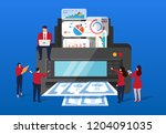 merchants print data into money | Shutterstock .eps vector #1204091035