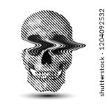 glitched line halftone skull... | Shutterstock .eps vector #1204092532