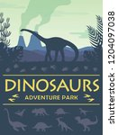 Dinosaurs adenture park poster prehistoric world dinosaurs silhouette and a place for text vector illustration