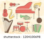 set of musical instruments on...   Shutterstock .eps vector #1204100698