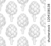 seamless pattern with artichoke.... | Shutterstock .eps vector #1204108138