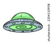 ufo. cartoon alien spaceship....   Shutterstock .eps vector #1204110958