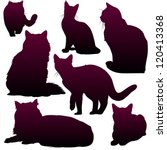 Stock vector vector silhouettes of cats for your design 120413368