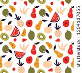 fruit seamless pattern. modern... | Shutterstock .eps vector #1204137055