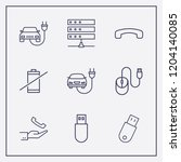 outline 9 cable icon set. hand... | Shutterstock .eps vector #1204140085