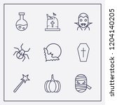 outline 9 halloween icon set.... | Shutterstock .eps vector #1204140205