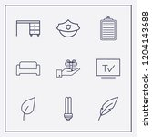 outline 9 flat icon set. tv ... | Shutterstock .eps vector #1204143688