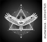 masonic symbol.all seeing eye... | Shutterstock .eps vector #1204147525