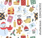 winter festive seamless pattern....   Shutterstock .eps vector #1204156552