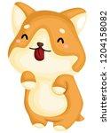 a really happy pure breed corgi ... | Shutterstock .eps vector #1204158082