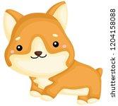 a really happy pure breed corgi ... | Shutterstock .eps vector #1204158088