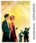 couple at a party in the style... | Shutterstock .eps vector #1204160032