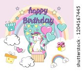 happy birthday card with... | Shutterstock .eps vector #1204167445