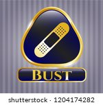 gold shiny badge with bandage... | Shutterstock .eps vector #1204174282