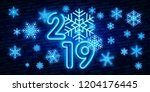 2019 happy new year neon text.... | Shutterstock .eps vector #1204176445