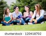 happy group of students sitting ... | Shutterstock . vector #120418702