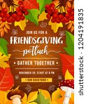 friendsgiving holiday potluck... | Shutterstock .eps vector #1204191835