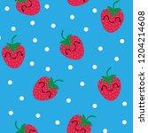 strawberry seamless pattern.... | Shutterstock .eps vector #1204214608