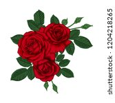 beautiful bouquet with red...   Shutterstock . vector #1204218265