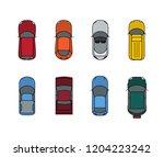 cars top view set. flat design... | Shutterstock . vector #1204223242
