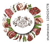 isolated meat circle with... | Shutterstock .eps vector #1204224778