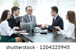 manager and business group... | Shutterstock . vector #1204225945